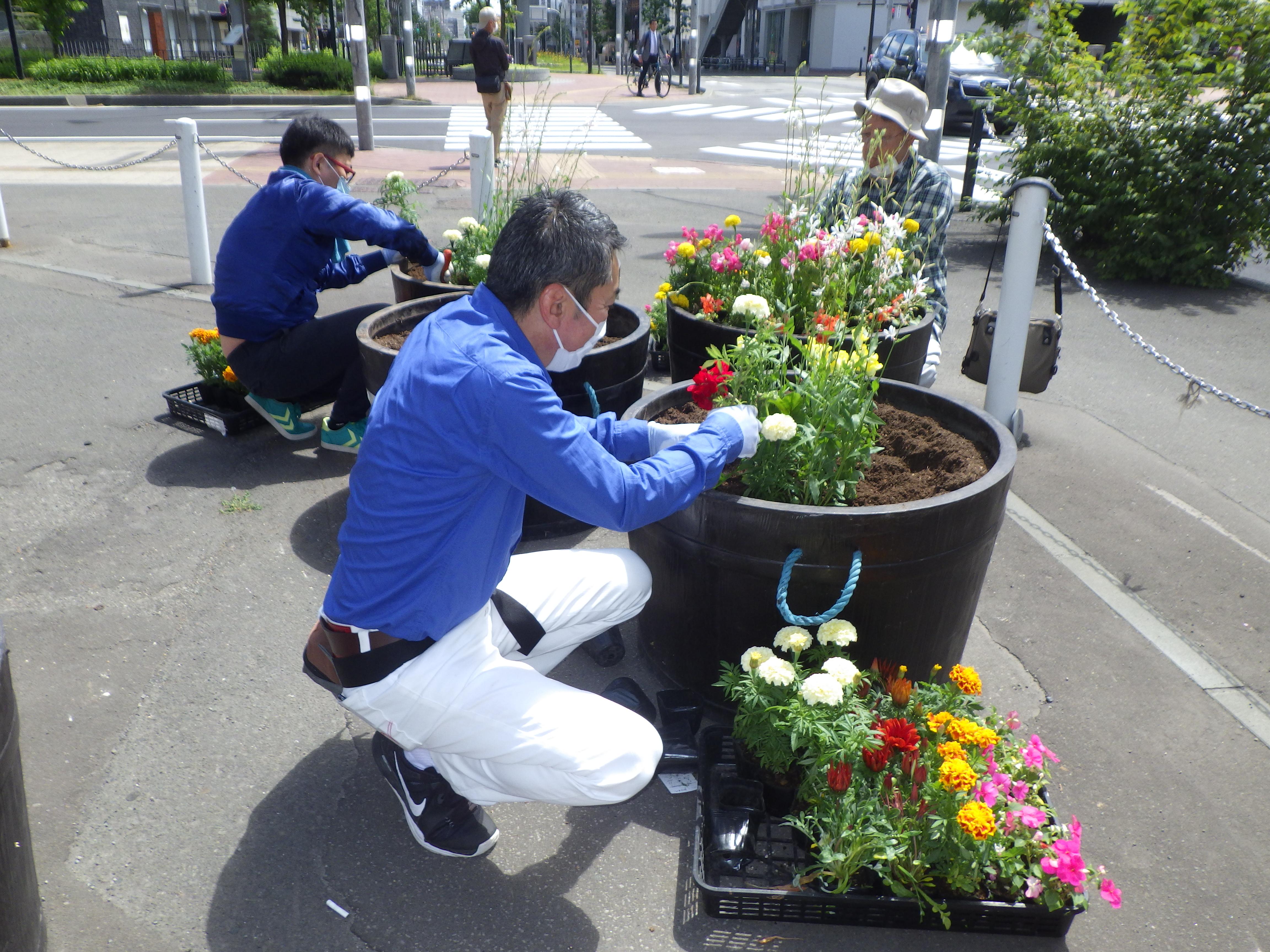 西1丁目プランター花植えの画像