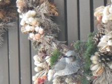 木の実と花のリースにとまっているヒヨドリの画像